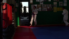 970 Slow motion video of an adult taekwondo training session in the gym, wa.. Stock Footage