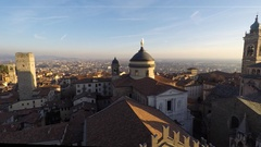 Bergamo. Evening sunset on the old city, Cathedral, clock towers Stock Footage