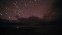 Starry Night over the clouds over the salted lake Durgun Nuur, Mongolia. Fu.. Stock Footage