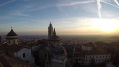 Time lapse Bergamo. Evening sunset on the old city, Cathedral, clock towers Stock Footage