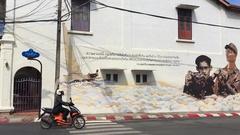 Phuket town, Thailand - Street art memorial painting Thai King Rama IX Stock Footage