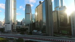 Hong Kong - Aerial sunset skyscrappers city view. Beautiful sunburst Stock Footage