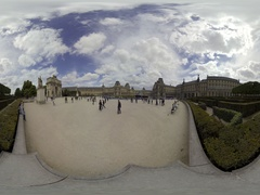 The Tuileries Garden is a public garden near Louvre 360 video VR Stock Footage
