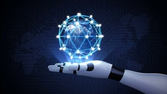 Rotating earth, connect idea bulb icon.communication technology on robot arm. Stock Footage