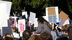 Special Women March event and Protesters around Los Angeles Stock Footage