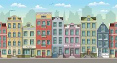 Seamless cityscape background with classic houses Stock Illustration