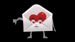 Letter with Heart. 2nd Pose Bad with Animated Face. Alpha Channel Stock Footage