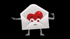 Letter with Heart. 12th Pose Left Bad Pointer with Animated Face. Alpha Stock Footage