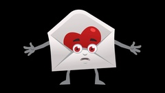 Letter with Heart. 3rd Pose Not Know with Animated Face. Alpha Channel Stock Footage