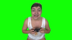Emotional face of man long time playing on the gamepad Stock Footage