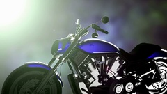 Chopper motobike on bokeh background with light Arkistovideo