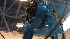 Automated robotic machine - mechanical arm for industrial welding Stock Footage