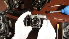 Vintage collectible Kodak retina camera lens opening Stock Footage