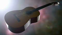 Classic guitar on bokeh background with light Stock Footage
