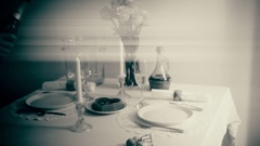 Pouring Champagne at Romantic Dinner Table Setting B&W black and whtie Stock Footage