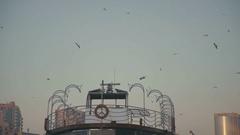 Seagulls circling around the pier. Orange lifebuoy Stock Footage
