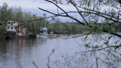Nature After Radiation Contamination. the Ships Are Sunk and Abandoned People. Stock Footage
