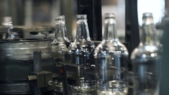 Glass bottle factory. quality control of the production of bottles Stock Footage
