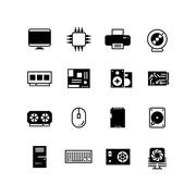 Computer hardware, hdd memory, ram, microchip, cpu vector icons Stock Illustration