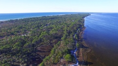 Aerial view of Cape San Blas, Florida Stock Footage