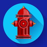 Red fire hydrant Vector icon for video, mobile apps. Stock Illustration