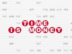 Timeline concept: Time Is money on wall background Stock Illustration