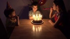 Boy celebrate his birthday with family Stock Footage