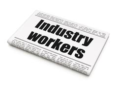 Manufacuring concept: newspaper headline Industry Workers Stock Illustration