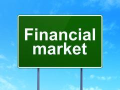 Money concept: Financial Market on road sign background Stock Illustration