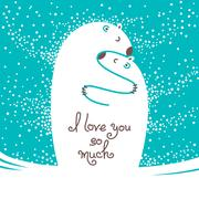 Two polar bears hugging each other. Greeting card with the inscription I love Stock Illustration