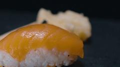 Sake Nigiri Sushi - close up shot Stock Footage