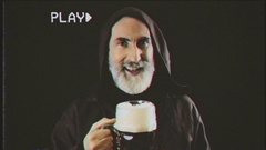 VHS friar big beer mug lust Stock Footage