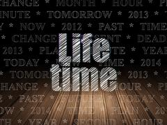 Timeline concept: Life Time in grunge dark room Stock Illustration