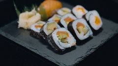 Japanese Food - a plate with fresh sushi Stock Footage