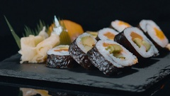 Delicious Sushi Selection - great food from the Japanese kitchen Stock Footage