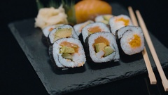 Variety of fresh sushi - very delicious Japanese food Stock Footage