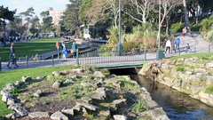 Bournemouth Gardens Bridge and Stream Stock Footage