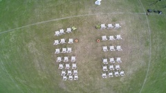 Aerial photography view of the preparations for the wedding ceremony Stock Footage