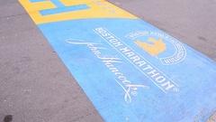 Boston Marathon Finish line at Boylston Street in Boston, Massachusetts, USA. Stock Footage