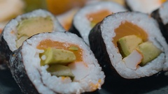 Sushi selection on a plate Stock Footage