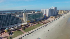 DAYTONA BEACH, FL - FEBRUARY 2016: Aerial view of city skyline. Daytona Beach is Stock Footage