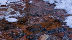 Snow and ice on the banks of a mountain river with crystal clear water Stock Footage