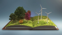 Open book makes wind power plant, wind energy, gray background. Stock Footage