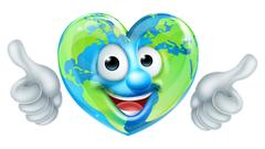 Earth Day Thumbs Up Heart Mascot Cartoon Character Stock Illustration