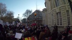 Anti Trump rally outside US Embassy London protesters chanting 4K Stock Footage
