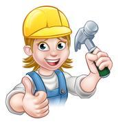 Woman Carpenter Holding Hammer Piirros