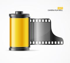 Camera Film Roll Cartrige. Vector Stock Illustration