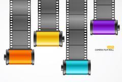 Camera Film Roll Cartrige Set. Vector Stock Illustration