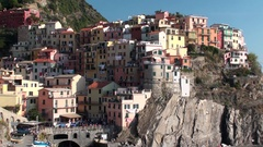 Manarola, famous village in Liguria, Italy Stock Footage