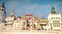 Izmailovo Kremlin in Moscow at winter Stock Footage